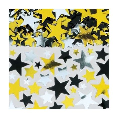 Gold, Black & Silver Metallic Star Big Pack Confetti