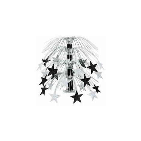 Cascading Stars Centerpiece - Black & Silver