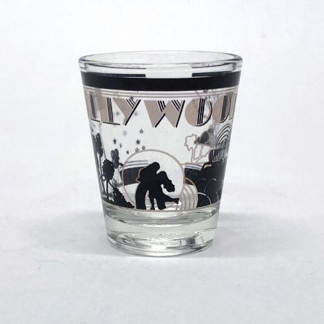 Clear Black and Gold Hollywood Shotglass