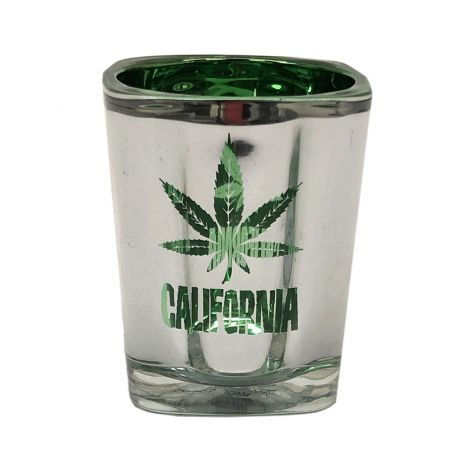 Chrome California With green Marijuana leaf