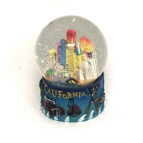 California with downtown Los Angeles a smiley sun