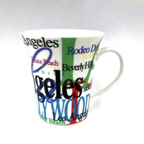 Los Angeles Colorful fonts on white Latte Mug