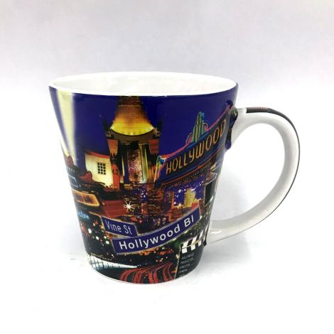 Los Angeles at night Colorful famous places Coffee  Mug
