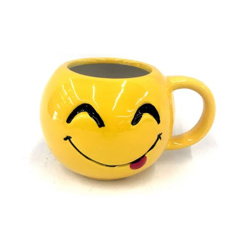 Yellow Emoji Round Mug,  Goofy,  Hungry, Smiling Face Licking Lips
