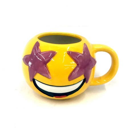Yellow Emoji Round Mug,  Excited,  Star Eyes, Face With Starry Eyes