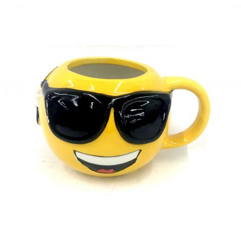 Yellow Emoji Round Mug,  Cool,  Sunglasses, Smiling Face With Sunglasses