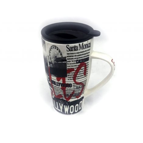 Black and White porcelain travel mug
