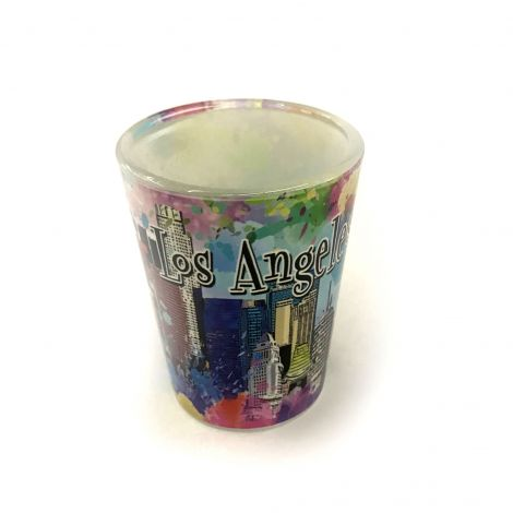 Color Los Angeles graffiti with Downtown buildings Shot Glass