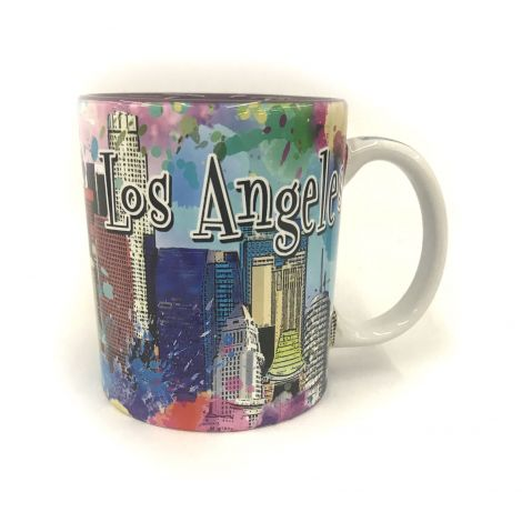 Color Los Angeles graffiti with Downtown buildings Coffee Mug