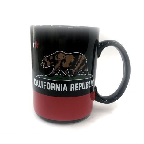 Large Black and Red California Republic Coffee Mug