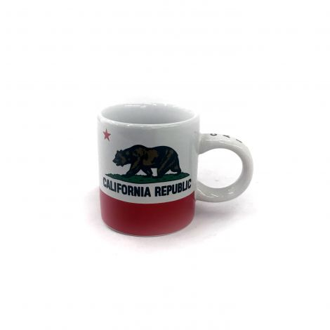 Small white and Red California Republic espresso Mug