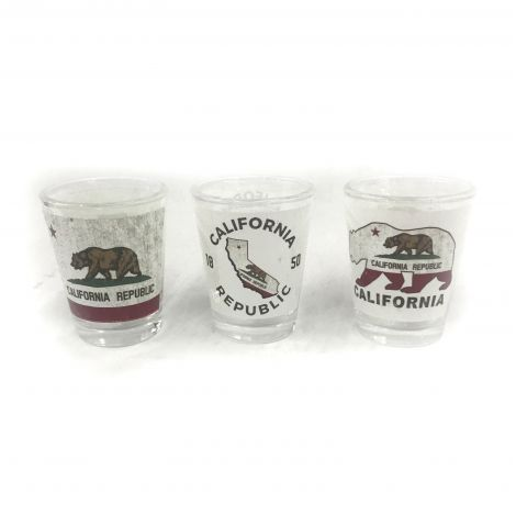 California bear and Map Shot Glass-set of 3 pcs