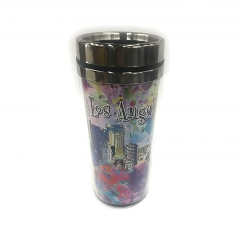 Color Los Angeles graffiti with Downtown buildings travel-Mug