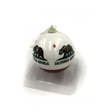 California Republic bear Holiday Ornament – white