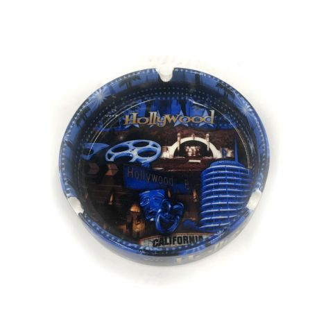 Hollywood Blue with icons Ashtray