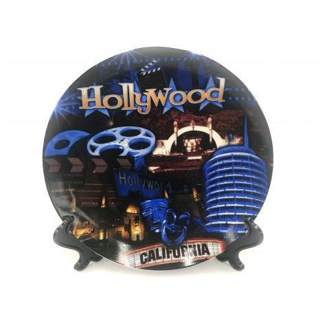 Hollywood Blue with icons Collector Plate