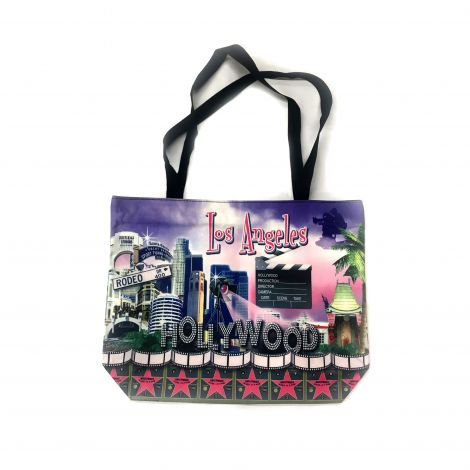 Hollywood and Los Angeles purple Walk Of Fame with Los Angeles skyline Tote Bag