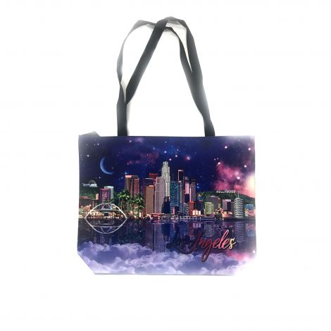 Los Angeles purple with Downtown Los Angeles skyline Tote Bag