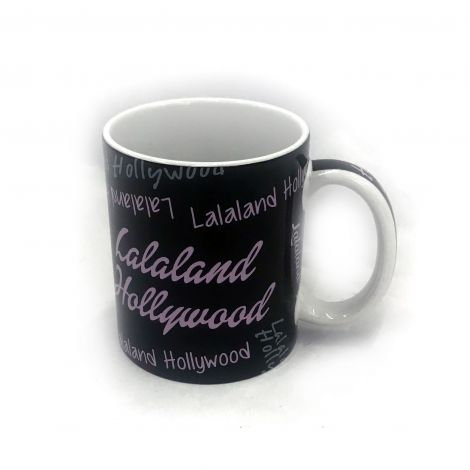 LALA LAND Hollywood black coffee mug Writing variations