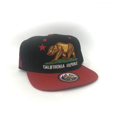 Black and Red California Republic Cap