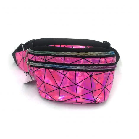 Metallic Color Fanny Packs - Purple with Lines