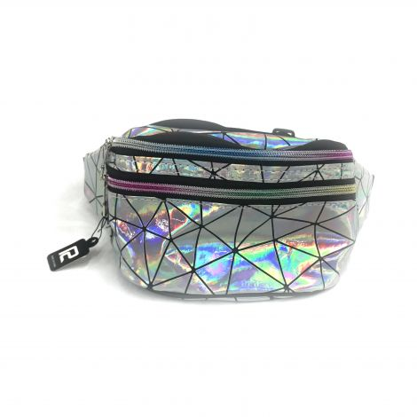 Metallic Color Fanny Packs - Silver with Lines