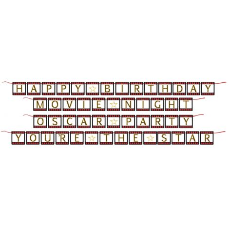Hollywood Banner Film Strip Letters on Red Ribbon