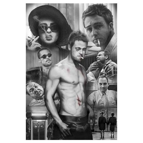 Fight Club Black And White Collage Poster