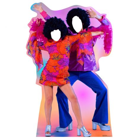 Place Your Face Cartoon 70's Disco Dance Couple Standup #1959