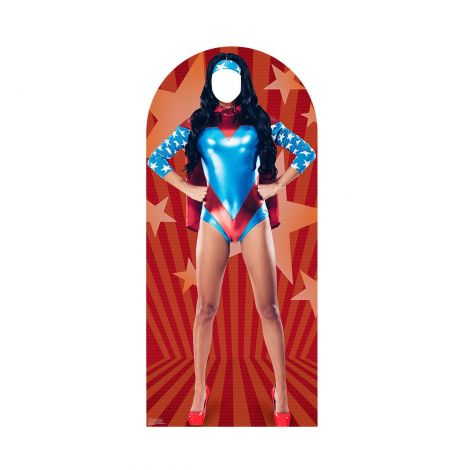 Place Your Face Woman Superhero Cardboard Cutout #2295