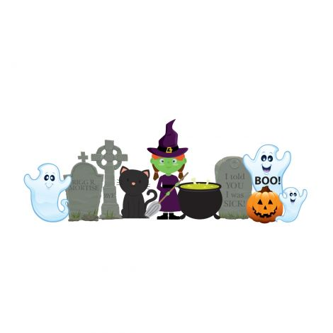 Witch and Ghosts Outdoor Cutout Decor *2635