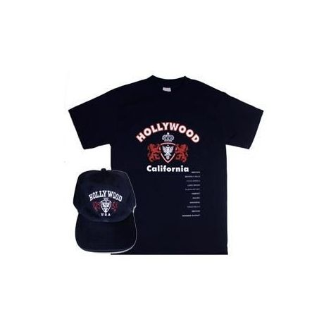 Hollywood California Navy combo T-shirt and cap