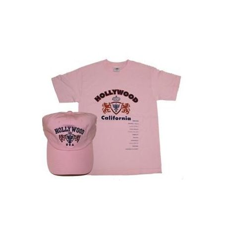 Hollywood California Pink combo T-shirt and cap