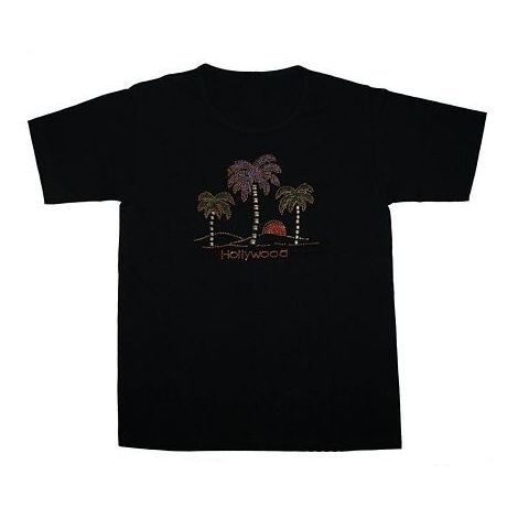 Hollywood 3 Palms Black T- Shirt