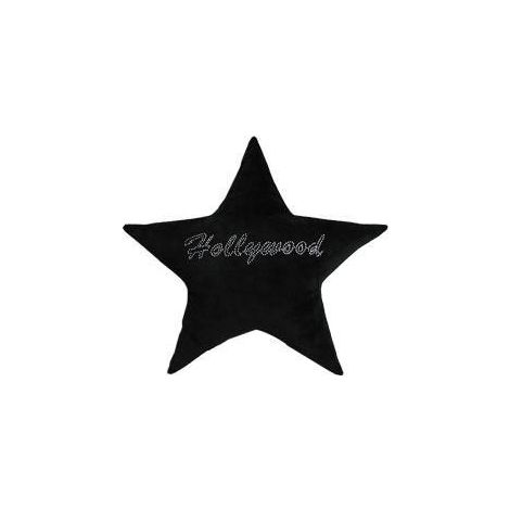 Hollywood Star Studded Plush Pillow - Black