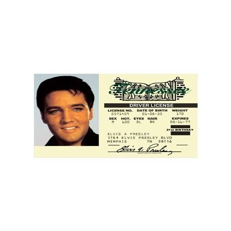 Elvis Presley Novelty Driver License