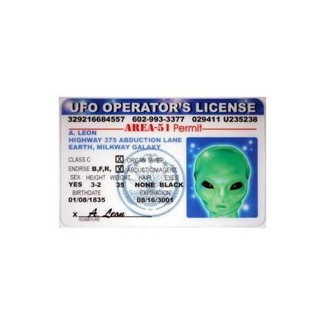 UFO/Alien Novelty Driver License