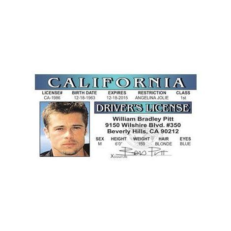 Brad Pitt Novelty Driver License