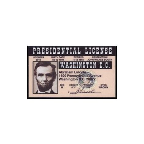 Abraham Lincoln presidential license.