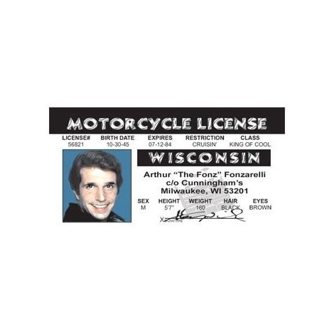"""The Fonz"" Motorcycle License"