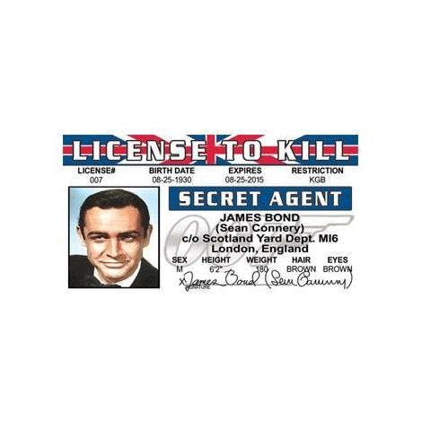James Bond Sean Connery License to Kill