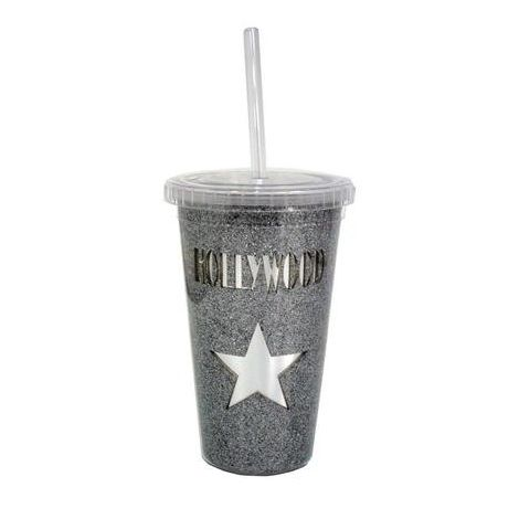 Hollywood Silver Star Reusable plastic Travel cup