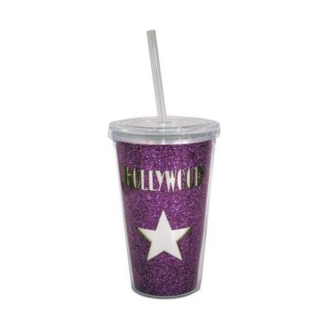 Hollywood Pink Star Reusable plastic Travel cup