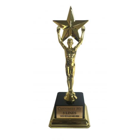 Customize Large star trophy with a square base