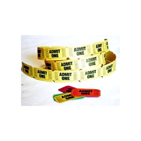 Admit One Tickets Yellow (Roll of 65)