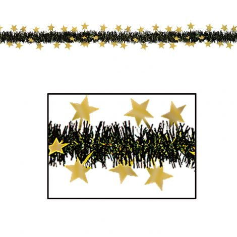 Star Garland in Black and Gold Metallic