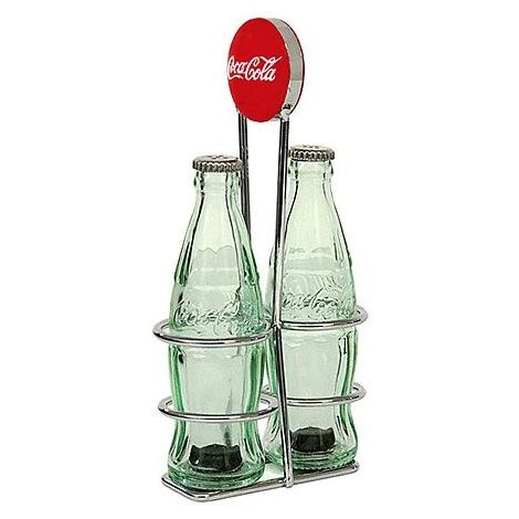Coca-Cola Salt & Pepper Shakers with Rack