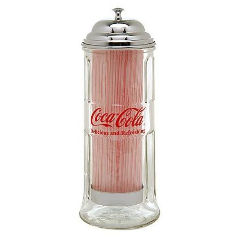 Coca-Cola Glass Straw Dispenser