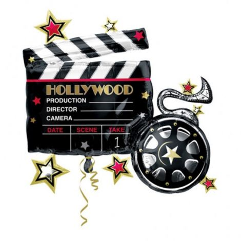 Hollywood Clapboard and Reel Jumbo Foil Balloon