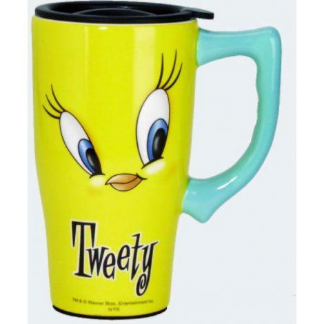 Yellow Tweety Bird Face Travel Mug